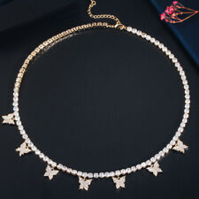 Luxus 18k Gold Zirkon Tennis Schmetterling Charm Choker Halskette Kostüm Schmuck