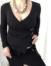 CHARLIE BROWN WOMENS TOP BLOUSE BLACK VISCOSE ELASTANE WRAP ALIKE SZ 2