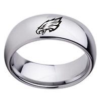 Philadelphia Eagles Football Team Stainless Steel Rings Men Women Silver 5.5-13