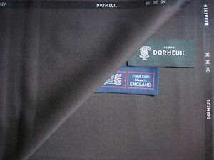 """DORMEUIL """"Barathea"""" WOOL SUITING FABRIC in """"Mid. Brown""""- 3.4 m.- MADE IN ENGLAND"""