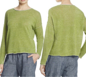 EILEEN FISHER Organic Linen Knit  Seamed Green Boxy Relaxed Pullover Sz XL NWOT