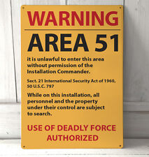 Area 51 Orange No Trespassing Roswell Warning sign A4 metal plaque pubs
