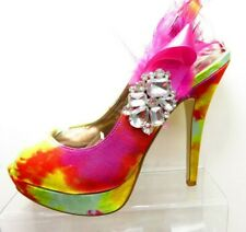 FAITH pink orange yellow open toe high heels evening diamante clip  UK 4 EU 37