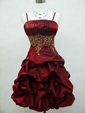 Cherlone Plus Size Burgundy Ball Evening Formal Bridesmaid Wedding Dress 18-20