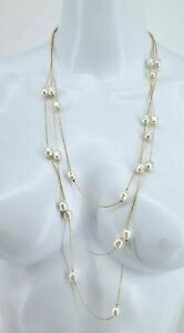 Avon 3-Strand Faux Pearl and Goldtone Chain Necklace