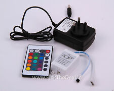 24 KEY IR INFRARED REMOTE CONTROLLER+12V POWER ADAPTOR FR RGB STRIP/ FLOOD LIGHT