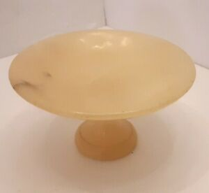 "Vintage Genuine Alabaster 6.5"" Pedestal Bowl Hand Carved  Alabasterhaus Germany"