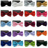 Men Satin Bowtie Classic Wedding Party Bow Tie  Solid Color Adjustable Necktie