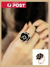 Black Rose Flower Ring Retro Crystal Rhinestone Ring Adjustable Fashion Jewelry