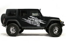 Vinyl Decal Wrap Kit for 4Door 07-16 Jeep Wrangler Rubicon Army Star Torn SILVER