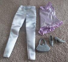 BARBIE DOLL CLOTHES - SATIN PANTS, PURPLE TOP, SHOES, PURSE