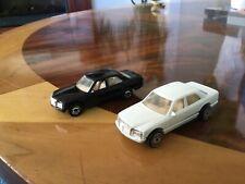 1981 Mattel Hot Wheels 380 SEL white & black pair  MALAYSIA vtg, used
