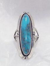 HUGE Vintage Navajo Turquoise William Johnson Pawn Sterling Silver Ring sz 8-1/2