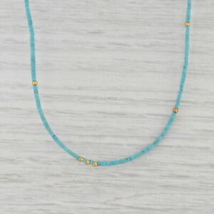 """New Nina Nguyen Turquoise Bead Necklace Sterling Gold Vermeil Adjustable 15-16"""""""