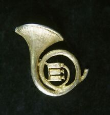 Pin Back Brooch Unsigned Vintage Gold Wash French Horn