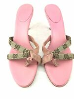 GUCCI High Heel Mule Sandals Women 7 1/2 B Canvas Signature GG Logo Pink Leather