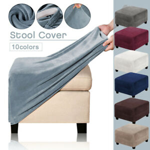 -Square Ottoman Slipcovers Stretch Velvet Pouffe Footstool Sofa Protector Cover