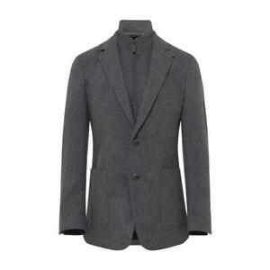 Men's Hackett, Wool, Cotton & Cashmere Hopsack Jacket in Grey