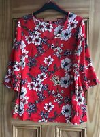 M&Co New Plus Size Red Ivory Pink Floral Flower Chiffon Top Blouse Size 18-24