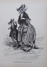 Grandville MUTTER KÄNGURUH IHR SÖHNLEIN SPAZIEREN FÜHRTE Reprint aus 1842 print