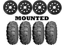 Kit 4 ITP Mud Lite XL Tires 26x9-12/26x10-12 on ITP Delta Steel Black Wheels IRS