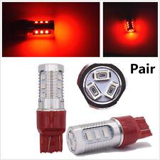 2X 7443 LED Strobe Red Car Rear Alert Safety Brake Tail Stop Light Fog Lamp Bulb