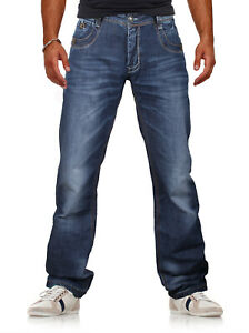 Herren hochwertige Jeans Denim Hose VIEWWAY'S Normaler Bund Used-Look Regular