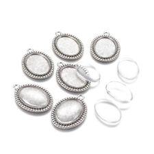 6set DIY Pendant Making Tibetan Alloy Cabochon Setting Glass Oval Antique Silver