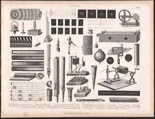 1870 Gravure originale Science Physique son spectre sonore instruments ouïe