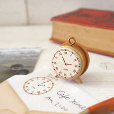 Small Cute Diary Scrapbook Decor Tool Wooden Vintage Alarm Clock Rubber Stamp