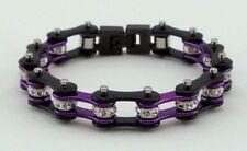 Ladies Stainless Steel W Crystals Motorcycle Bike Chain Bracelet Purple-Black