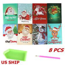 US!8PCS Christmas DIY Diamond Painting Xmas Greeting Card Stitch EmbroideryDecor