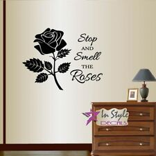 Vinyl Decal Stop and Smell Roses Phrase Rose Flower Any Room Wall Sticker 449