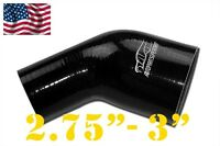 """4PLY Silicone 45 Degree Reducer Elbow Joiner Hose 70mm - 76mm 2 3/4""""- 3"""" Black"""