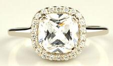 Kissen Form 2,50 Karat 585er Solide Echt Weiß Gold Solitär Verlobung Ring