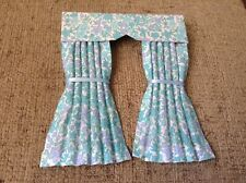 Pretty 1/12 Scale Dolls House Curtains - Turquoise & White Floral
