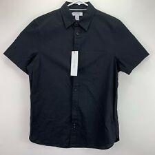 Calvin Klein Mens Slim Fit Stretch Short Sleeve Button Down Shirt Black S