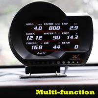 OBD2 Dash Digital Turbo Boost Pressure Water/Oil Temp Speed Voltage Alarm Gauge