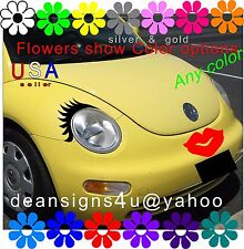 Car Eyelashes headlight red LIPS bumper face VW bug beetle black volkswagen USA