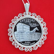 2001 Kentucky State Quarter 90% Silver Proof Coin 925 Sterling Silver Necklace