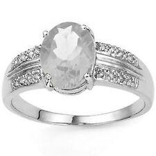 Genuine White Topaz Gemstone Diamond Ring .925 Sterling Silver, Size 7