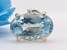 14K Yellow Gold Natural Top Quality Aquamarine (3.61ct) Pendant, New