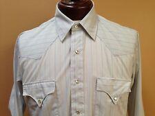 VTG 80s Prior Westerns Denver LS Pearl Snap Shirt Blue w Stripes sz 16.5 33 USA