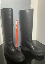 Prada Lug Sole Black Riding Motorcycle Pull Boot Weather Proof Women NWT$900+~9