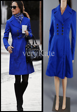 TED BAKER LINGERS ROYAL BLUE FITTED TRENCH DRESS COAT SZ TED 3 UK10 12 US 6 8