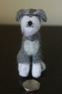 Needle Felted Schnauzer Handmade and Unique. Free P&P