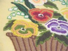 Vintage Crewel Embroidery Pillow Cover Bright Spring Pansies & Snowbells Basket