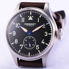 42mm DEBERT Watch Seagull Movement Black Dial Luminous Sapphire Glass DT7019SR