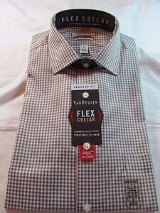 NWT VAN HEUSEN FLEX COLLAR LONG SLEEVE DRESS SHIRT, Reg. Fit, Brown Check, Caffe