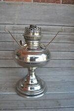 Vintage Rayo Socony Victorian Nickel Kerosene Oil Table Lamp
